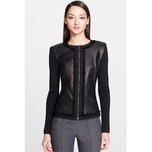 St. John Leather & Milano Fringe Trim Knit Jacket